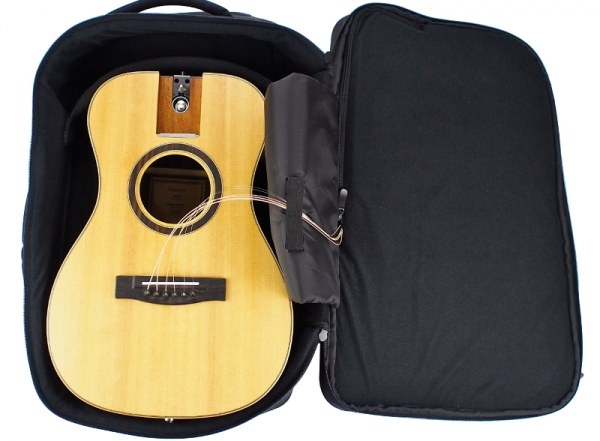 Travel Guitar Backpack with collapsed travel Guitar